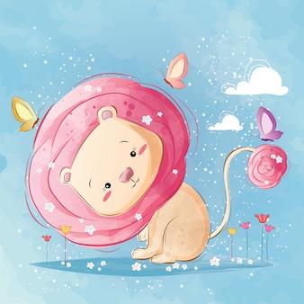 かわいいピンクのバラの髪のライオン