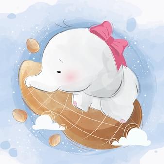 ピーナッツ枕で寝ている象の赤ちゃん