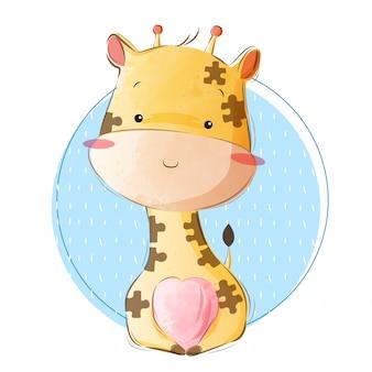 Ребенок жираф в образце головоломки