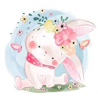 春のかわいいウサギ