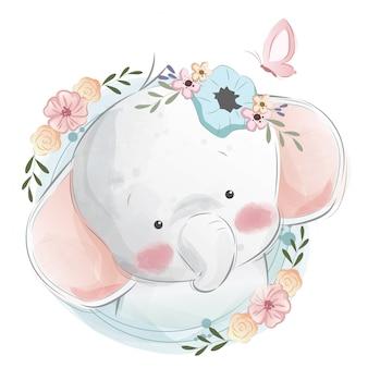 かわいい赤ちゃん象の肖像画