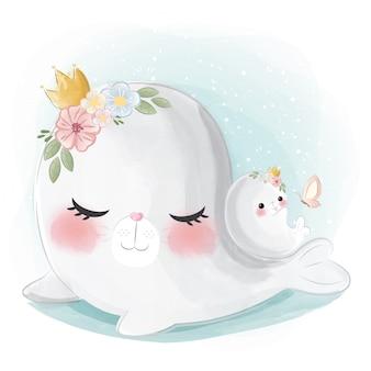 かわいいママと赤ちゃんシール