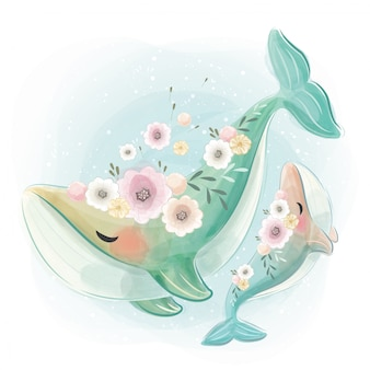 一緒に踊るかわいいと赤ちゃんのクジラ