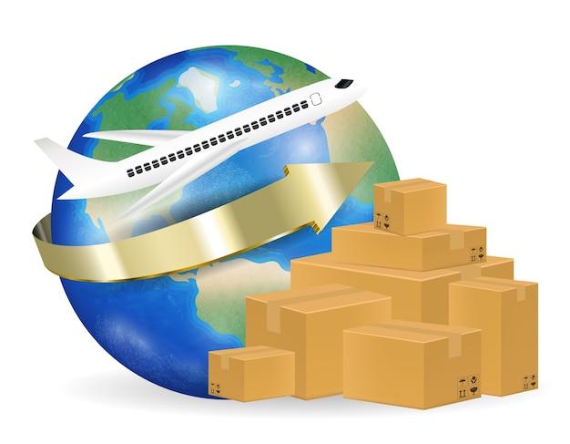飛行機は世界中の段ボール箱を出荷