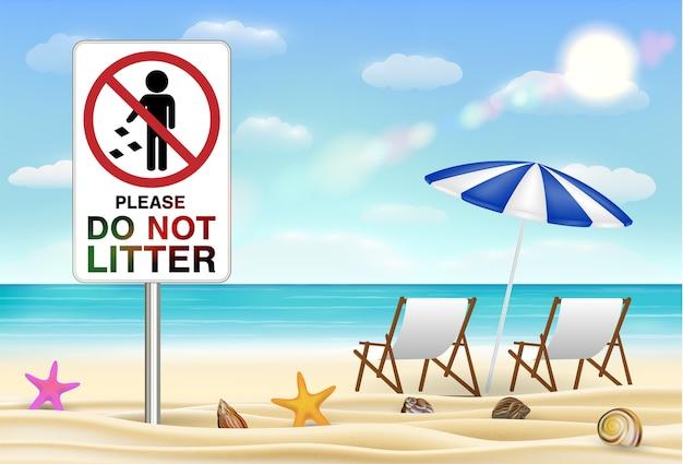 Пожалуйста, не мусор знак на морском песчаном пляже