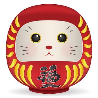 猫の顔ベクトルと日本のドルマ人形