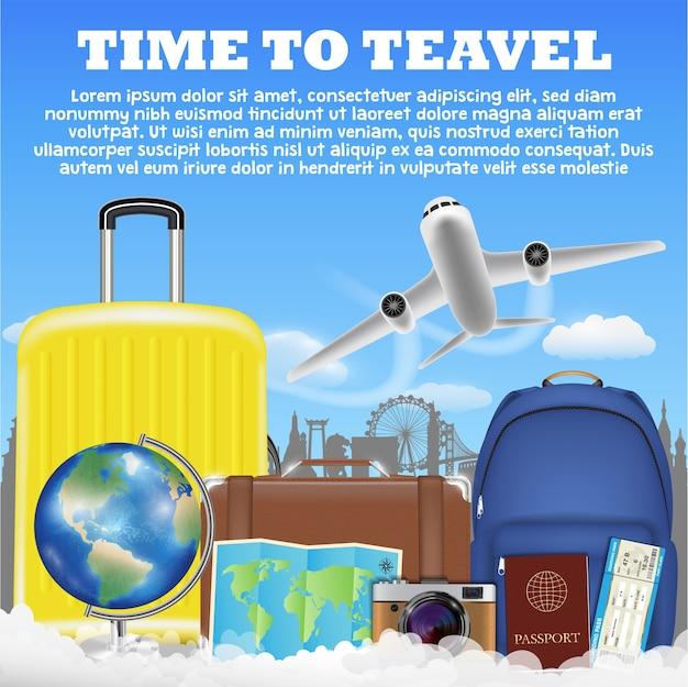 Время, чтобы путешествовать с чемоданом багажа чемодана самолета