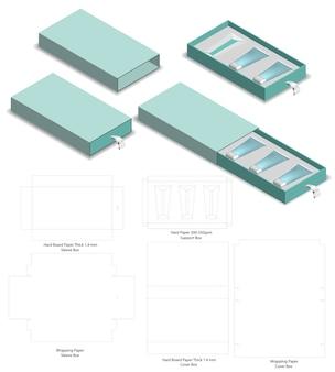 硬質スリーブボックスのダイカットモックアップテンプレートベクトル