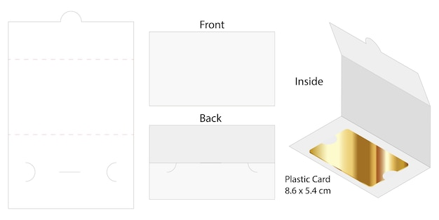 プラスチックカードの封筒ダイカットテンプレートモックアップ
