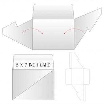 封筒ダイカットモックアップテンプレートベクトルイラスト。