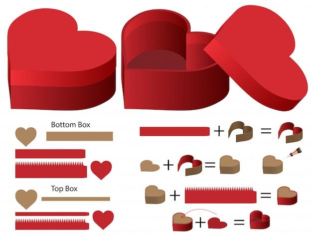 ハート型ボックス包装ダイカット