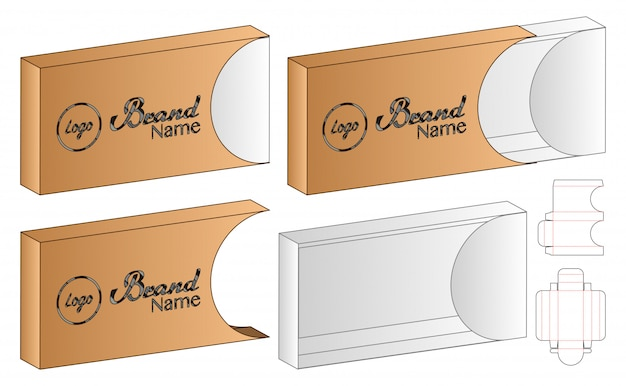 スライドボックスパッケージダイカットテンプレートデザイン。