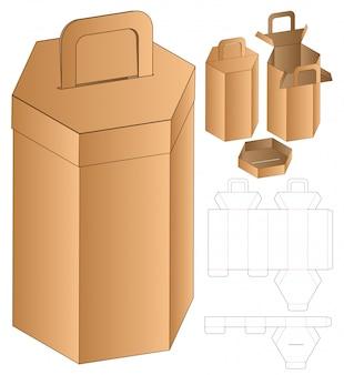 六角形のボックス包装型抜きテンプレート