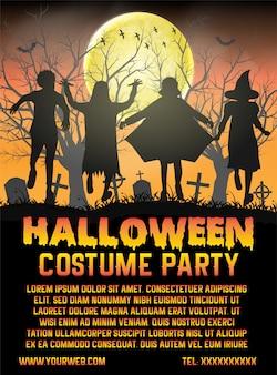 Хэллоуин детский костюм перед кладбищем плакат шаблон