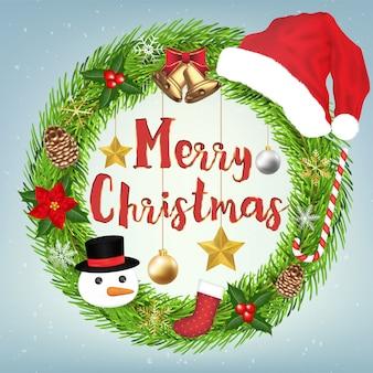 装飾メリークリスマスリースサークルの周りにクリスマスオブジェクト