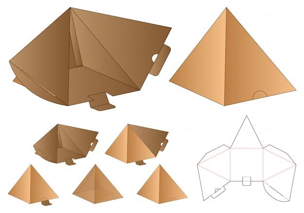 ピラミッド型ボックスパッケージダイカットテンプレートデザイン