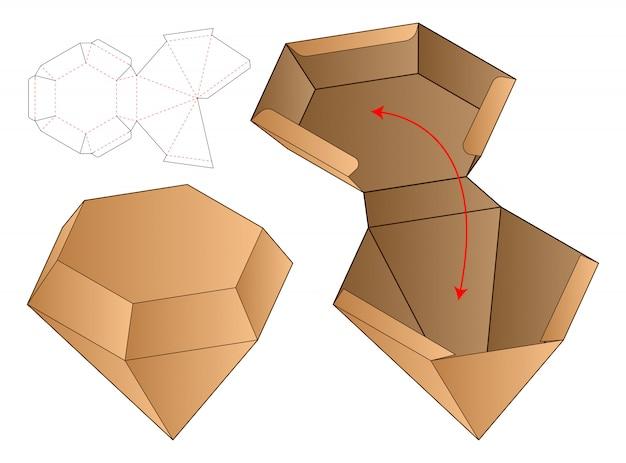 ダイアモンドシェイプボックスパッケージダイカットテンプレート