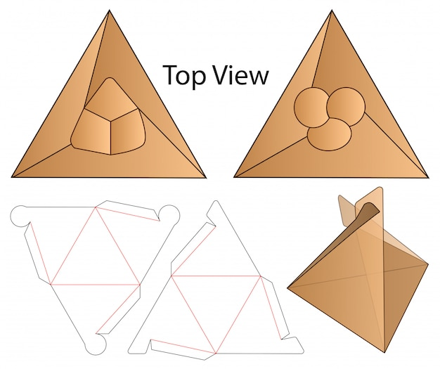 トライアングルボックスパッケージダイカットテンプレートデザイン。