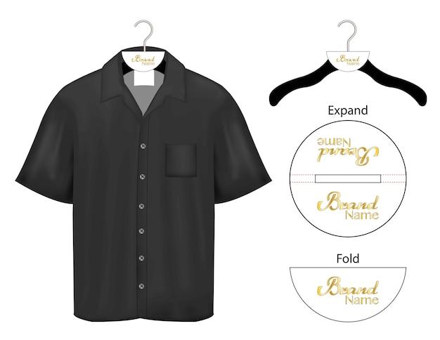 衣服ハンガーブランドロゴの包装ダイカットモックアップ