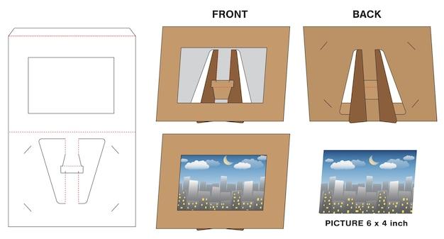 写真の写真の紙のフレームスタンドダイカットモックアップ