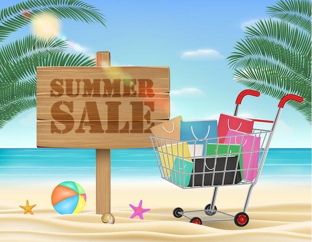 夏の販売用木製ボードとショッピングカート