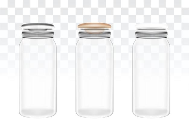 本当の透明ガラス瓶のセット
