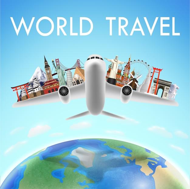 世界旅行のランドマークのある飛行機