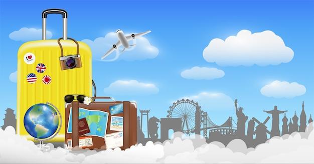 Время для путешествий с сумкой и объектом путешествий по миру