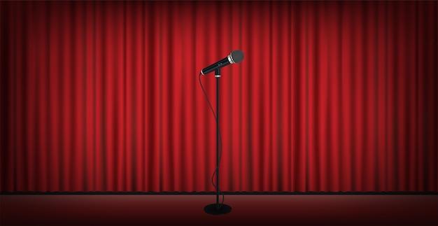 赤いカーテンの背景と舞台のマイクスタンド