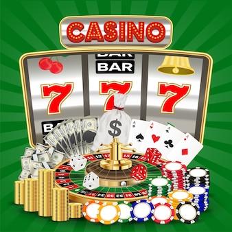 スロットマシンカードゲームルーレットチップを持つカジノ