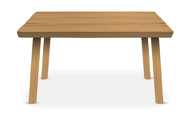白い背景に本物の木製のテーブル
