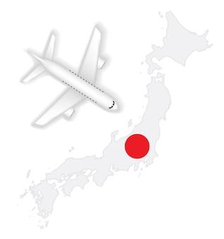 飛行機の飛行機が日本の旗地図に移動する