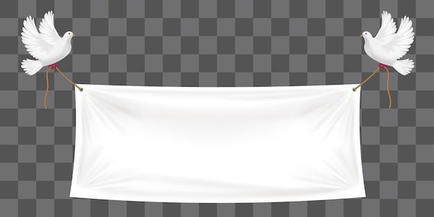 白いハトとロープのビニールバナーの背景