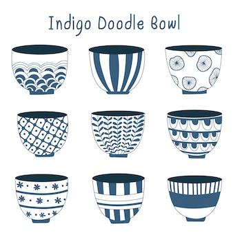 シンプルなインディゴ手描きの台所用品、日本の陶器、工芸品、手作りのコンセプト