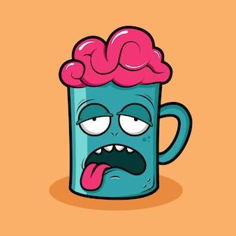 Характер чашечки с дизайном футболки с открытым мозгом