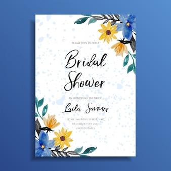 ブライダルシャワーの招待状水彩花柄