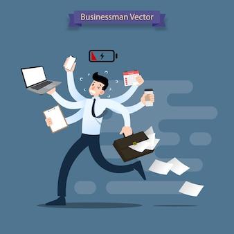 多くの手で忙しいビジネスマンが走っています。