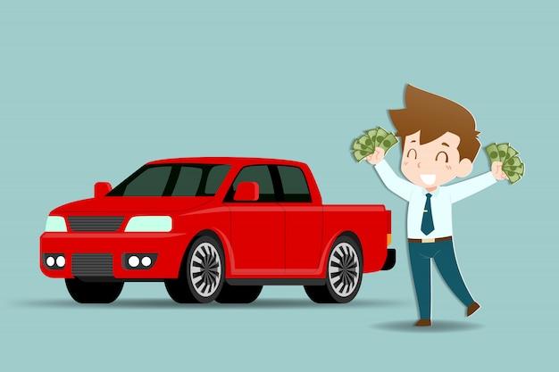 ビジネスの男性は車を買う準備ができています。