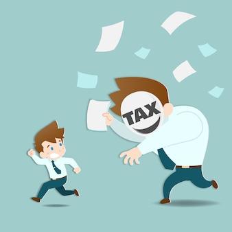 巨大な税金から逃げるビジネスマン。