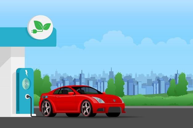 Зарядка аккумулятора электромобиля.
