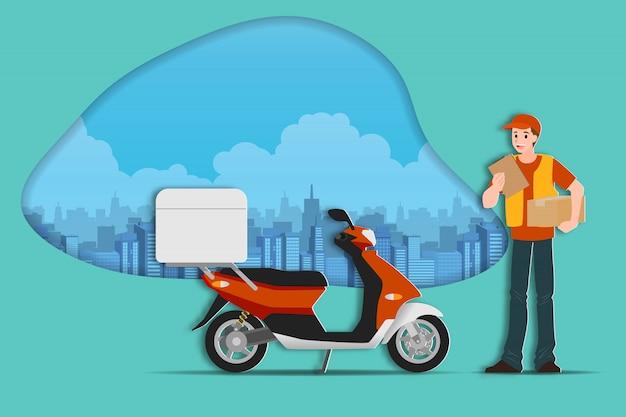 Доставка человек, держащий коробку посылки.