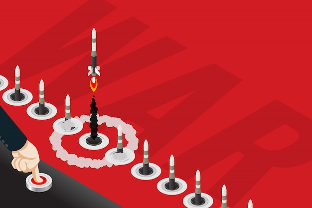 空にミサイルを送信するためのボタンを押す等尺性の手。