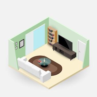 家具付きの等尺性のリビングルーム。