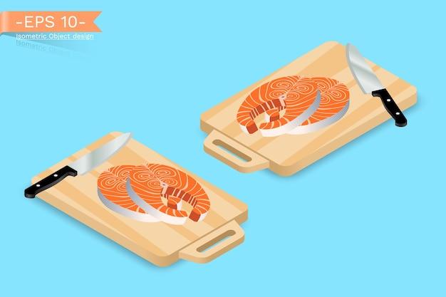 Изометрическая разделочная доска с ножом и лососем
