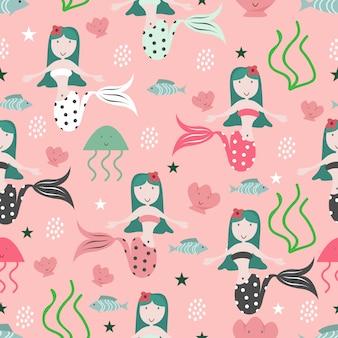 赤ちゃんのファッションのためのかわいい人魚シームレスパターン背景