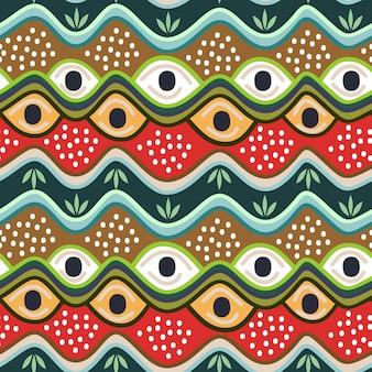 部族の手描きのストライプのカラフルなシームレスパターン