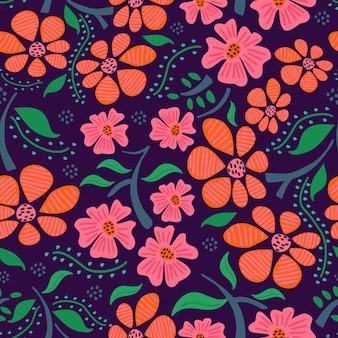 紫色の背景に女性の花の手描きのシームレスパターン