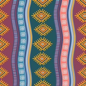 民族の描画スタイルと手描きの部族のシームレスパターン