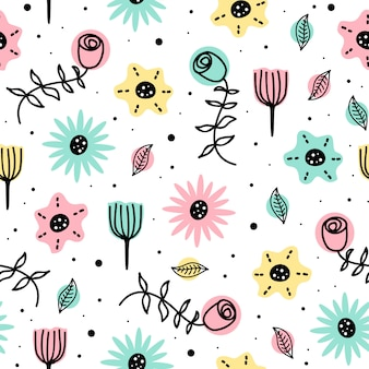 かわいい北欧手描きとシームレスな花の美しさのパターン