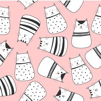 かわいい猫漫画のシームレスパターン